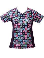 Remedy Scrubs Fashion Neckline Print Top with Knit Side Panels