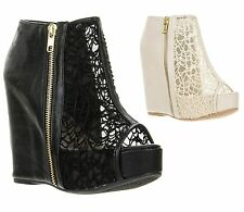 New Qupid Women Peep Toe See Through Lace Ankle Platform Wedge Bootie WORTHY-155