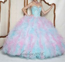 New Beaded Quinceanera Dresses Ball Gown Prom Pageant Dress Size Custom