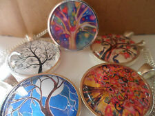 Tree of Life Folk Art Pendant Necklace,Glass Cabochon Art Image Jewellery 25mm