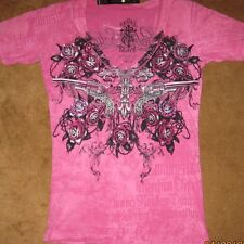 Rebel Saints AFFLICTION 2 Sided Embellished PINK  Alaina Burnout Femme Fatale