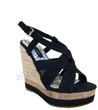 "WOMENS DESIGNER PLATFORM WEDGE ""KARA"" BLACK SIZE 5,6,7,8.9.10"
