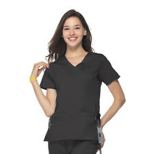 MEDICAL SCRUBS CHARCOAL GREY MAEVN STRETCH  FIT Y-NECK TOP (NEW, SIZES  XS -2XL)