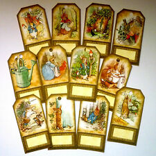 12 Peter Rabbit Vintage Gift Tags/Place Name Settings ALSO Cake Picks/Place Card