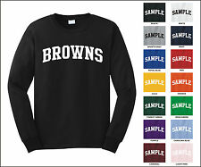 Browns College Letter Team Name Long Sleeve Jersey T-shirt