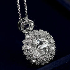 18K GOLD GF MADE WITH SWAROVSKI CRYSTAL WEDDING PENDANT NECKLACE