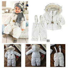 Baby Snowsuit Snow Jacket & Snow Pants Set Pure White Boy Girl Winter Outerwear