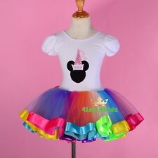 Colorful Ribbon Trim Ballet Tutu Dance Costume Fancy Fairy Dress Up Sz 3-7 BA052