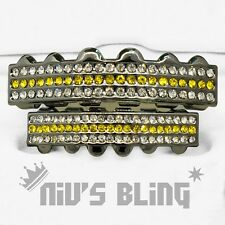 Iced Out Gunmetal GRILLZ Yellow Stripe CZ Bling Mouth Teeth Caps Hip Hop Grills