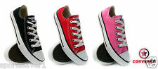 CONVERSE CHUCK TAYLOR ALL STAR OX YOUTH BLACK/PINK/RED SIZE 11-2
