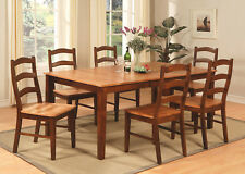 7PC RECTANGULAR DINETTE DINING TABLE w/ 6 WOOD SEAT CHAIR IN CINNAMON & ESPRESSO