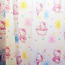 New Hello Kitty Pink Waterproof Bath Time Shower Curtain 12 Ceramic Hooks