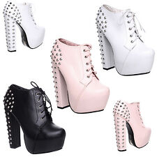 WOMENS LADIES CONCEALED PLATFORM LACE UP HIGH BLOCK HEEL STUDS ANKLE BOOTS SIZE