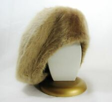 NWT WOMEN'S HAT CREAM BERET BEANIE FALL WINTER REVERSIBLE FAUX FUR
