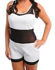 WOMENS PLUS SIZE CLOTHING ALL IN ONE SEXY BLACK AND WHITE ROMPER SUIT
