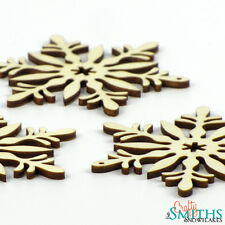 "3x Wooden ""Floral Bouquet"" Birch Wood Laser-Cut Snowflake Christmas Ornaments"