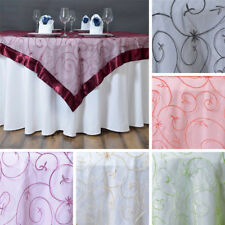 """10 Embroidered Organza 60x60"""" SQUARE Table OVERLAYS Wedding Party Linens SALE"""