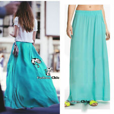 CelebStyle Turquoise Double-Layered Chiffon Full Length Maxi Skirt