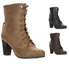 New Qupid Women's Chunk High Heel Lace Up Military Combat Ankle Boot ROSKEY-01