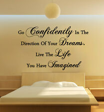Quote - Confidently Dreams Live Life Wall Art Free Squeegee! Vinyl Decal Sticker