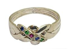 PUZZLE RING 4-Band Sterling Silver Ruby Sapphire Emerald #2501