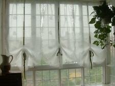 White Hand Embroidered Floral Balloon Shade Sheer Voile Cafe Kitchen Curtain E04