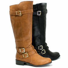 Womens Strappy Faux Leather Riding Boot Gold Accent Buckles Zipper Soda Sake-S