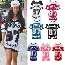 Ladies  Womens Varsity Chicago 87 Wolves Print Oversized Jersey Tee Top Tshirt