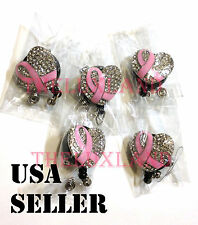 Wholesale Rhinestone Crystal retractable ID badge reel holder Pink Ribbon Heart
