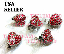 Wholesale Rhinestone Crystal retractable ID badge reel holder - Heart Heart
