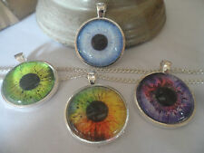 Human Glass Eye Altered Art Image Pendant,Silver Plated Necklace,9 colours