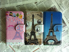 3Colors New Card Holder Eiffel Tower Leather Cover Case For Many Mobile phones
