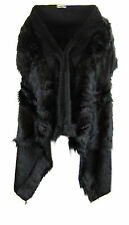 U79 NEW WOMENS FAUX FUR TRIM ROMANY LADIES TOWIE CAPE IN PLUS SIZE 08-20.