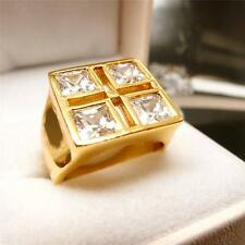 Men Jewelry Hip Hop 24K Yellow Gold Filled Glint Crystal Men's Ring R27 8#-10#