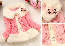 Baby Girls Toddler Faux Fur Coat Lace Kids Winter Warm Jacket Outwear Clothing