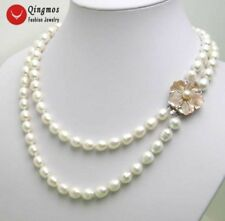 """SALE 6-7MM Rice WHITE Natural freshwater PEARL 17-18"""" 2 strands NECKLACE -ne5032"""