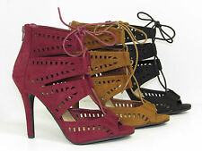 Delicious Caper Peep Toe Lace Up Gladiator Caged High Heel im-Suede Zipper Pump