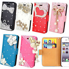 Hot Sale Bling Flip Leather Diamond Pouch Wallet Case Cover For iPhone 4G 4S