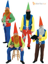 Mens Garden Gnome Costume Fairy Tale Elf Adult Stag Panto Fancy Dress Outfit