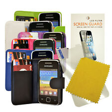 FOR SAMSUNG GALAXY Y S5360 S5363 S5369 WALLET FLIP CASE COVER + Screen Protector