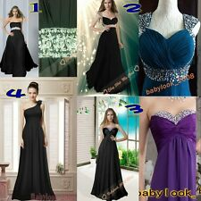 New Christmas Long Black Prom Evening Dresses Formal Bridesmaid Gowns Size6-26