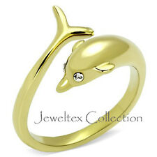 18K Gold GP Dolphin Dress Ring Set With 2 Swarovski Austrian Crystals. AJ027