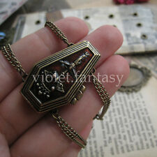 Punk Retro New Brass Goth Coffin Locket Vampire Bat Crown Cross Bracelet Jewelry