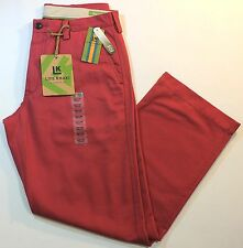 NEW Men Haggar Life Khaki Relaxed Straight Plain Front Red Berry Color Pants $65