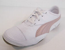 Puma Ladies White Leather Lace Up Trainers Light Pink Logo Usan Wn's