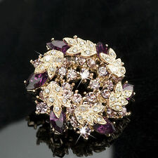 18K ROSE GOLD GP Made with SWAROVSKI CRYSTAL FLOWER SPRING BROOCH