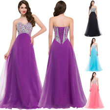US CHEAPEST FAST Bead Long Formal Wedding Gown Evening Prom Cocktail Party Dress