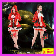 Women Sexy Little Red Riding Hood Cape Fancy Dress Fairy Tale Costume Size 8-10
