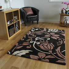 New Modern Brown & Beige Damask Print Area Rug Superior Quality Soft Cheap Mats