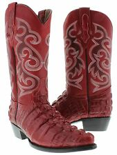 Mens crocodile alligator cowboy boots  red leather tail cut western exotic